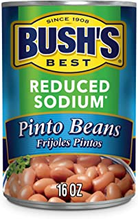 BUSH'S BEST Canned Reduced Sodium Pinto Beans (Pack of 12), Source of Plant Based Protein and Fiber, Low Fat, Gluten Free, 16 oz