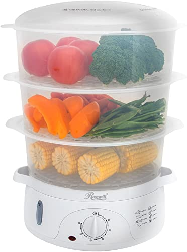 Rosewill-BPA-free,-9.5-Quart-(9L),-3-Tier-Stackable-Baskets-Electric-Steamer-with-Timer-Food