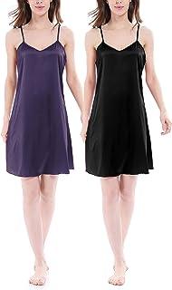 Genuwin Mujer Camisón de Satén de Verano, Vestido Corto de Noche con Estilo Simple (Pack de 2), Kimono Bata Cortos para Mu...
