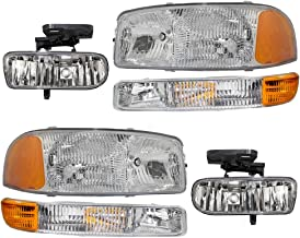Headlights Signal Marker Lamps & Fog Lights 6 Piece Set of Replacements for GMC Sierra Pickup Truck Yukon SUV 10385054 10385055
