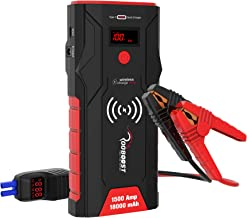 ROOBOOST 1500A Peak 12V Portable Car Jump Starter Pack (Up to 7.0L Gas and 5.0L Diesel Engine) Hight Speed Quick Charge 3.0 Auto Battery Booster Smart Jumper Cable 18000mAh Power Bank with Qi Wireless