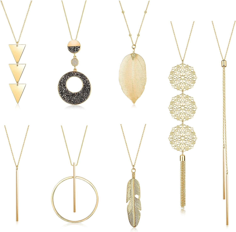 ORAZIO 8Pcs Long Pendant Necklaces Feather Women for Fashion Tas New product Atlanta Mall type