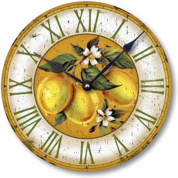 Fairy Freckles Studios Item C2105 Yellow Lemons Vintage Style Wall Clock 12 Inch Diameter