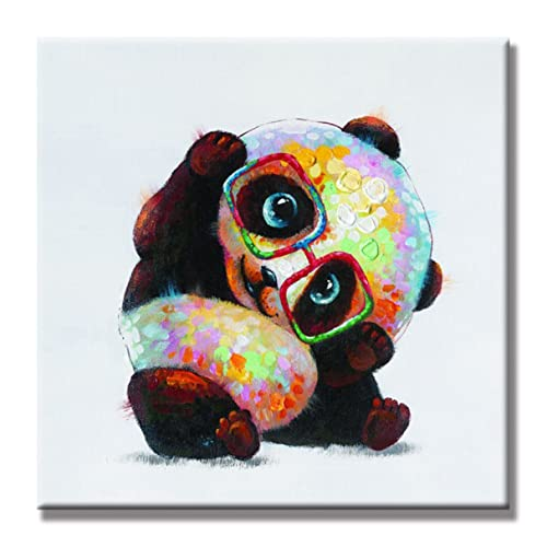 5479cf9969e2 SEVEN WALL ARTS -Modern Animal Painting Cute Panda Wears Glasses Artwork on  Canvas Stretched  Framed