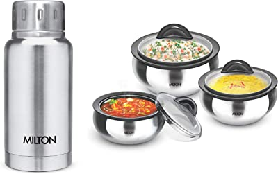 Milton Clarion Jr Stainless Steel Gift Set Casserole with Glass Lid, Set of 3,Steelplain & Elfin Thermosteel Flask Flask, 160ml, Silver Combo