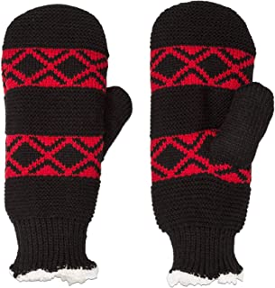 Isotoner Womens SmartDRI Water Resistant Thick Lined Warm Winter Knit Mittens - Red Black Diamond