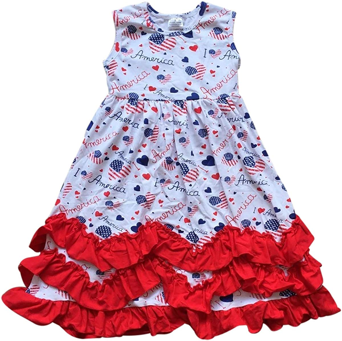 Flower Girl Dress Heart America Print Layered Ruffles Party Dress Special Occasion Dress for Girl
