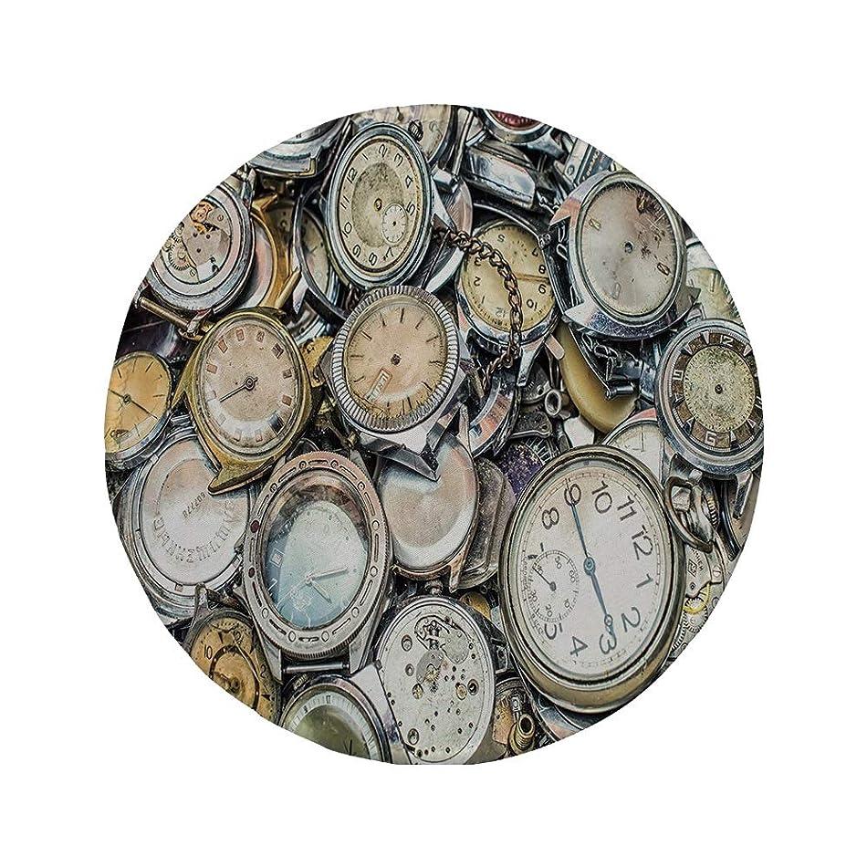 Non-Slip Rubber Round Mouse Pad,Clock Decor,Antique Theme A Pile of Several Vintage Clocks Retro Pattern Decorative Design,Gold Beige,11.8