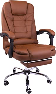 Halter Reclining Leather Office Chair - Modern Executive Adjustable Rolling Swivel Chair Headrest with Retractable Footrest (Brown)
