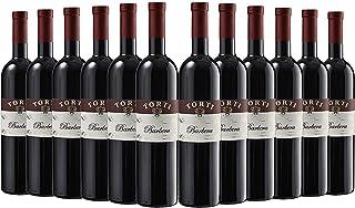 Barbera DOC OP - Vino tinto italiano - Uvas cultivadas orgánicamente a mano - Finca ganadora del premio Torti Wine - Color rojo rubí brillante caso de 12