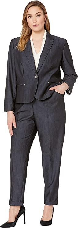Plus Size Pants Suit with Turn Cuff One-Button Jacket