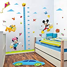 Grow Up with Minnie & Mickey Mouse Wall Stickers Home Decoration Anime Mural Art Decals Growth Chart for Kids Height Measure