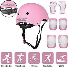 ValueTalks Protección Patinaje, Protección Infantil Consta de Casco Ajustable Rodilleras Coderas, Patinaje Ciclismo Monopatín y Deportes Extremos(Rosa)