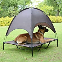 Niubya 48 Inches XLarge Elevated Dog Cot with Canopy, Durable 1680D Oxford Fabric Pet Bed for Indoor and Outdoor Use