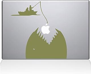 "The Decal Guru 0149-MAC-15P-G Gone Fishing Vinyl Sticker, 15"" Macbook Pro (2015 & older), Gold"