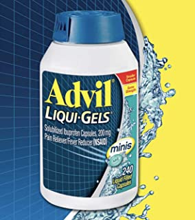 Advil Liqui-Gels Minis (240 Count) Pain Reliever/Fever Reducer Liquid Filled Capsule, 200mg Ibuprofen (240 Count)