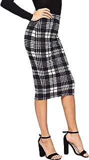 Women's Plaid Print High Waist Knee Length Bodycon Pencil Skirt