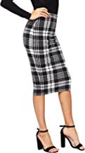 Floerns Women's Plaid Print High Waist Knee Length Bodycon Pencil Skirt