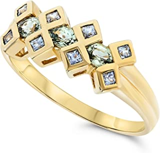 10k Yellow Gold Oval Square Green Sapphire and Tanzanite Gemstone Designer Ring For Women