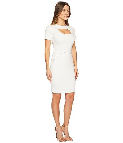 con manga corta Versace Vestido de recorte blanco de Jeans SpxYH