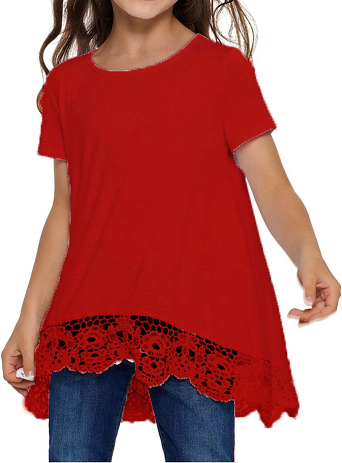 Jorssar Girls Tie Dye Clothes Kids Casual Tunic Tops Loose Blouses T-Shirt Size 5-12 Years: Clothing
