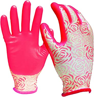 Digz Stretch Knit Garden Gloves with Nitrile Coating, Rose Pattern, Medium