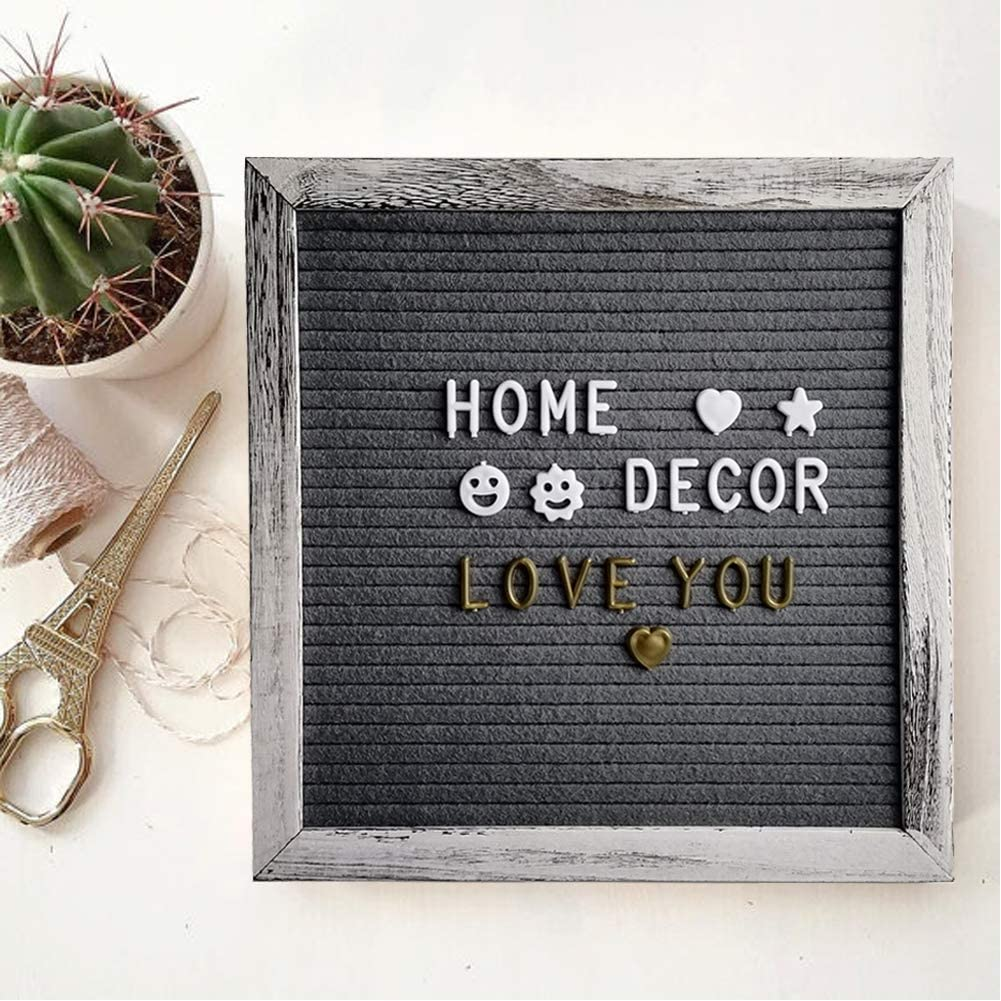 10/×10 Changeable Letterboard Wall /& Tabletop Display Gray Felt Letter Board Message Sign
