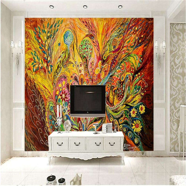 Qbbes Papeles Pintados A Mano Vintage 3D Murales Personalizados Parojoes Coloridas Papeles Arte Abstracto Murales Para Sala De Estar Tv Decoración Para El Hogar-200X140Cm