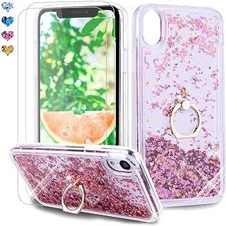 759ebbf1d97 Feyten Funda iPhone XR [2-Unidades Cristal Vidrio Templado], Glitter Lujo  Moda