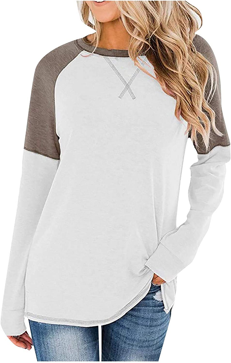AODONG Womens Long Sleeve Tops,Women's Long Sleeve Stitching Round Neck Casual Blouse Tunic Shirt Tops