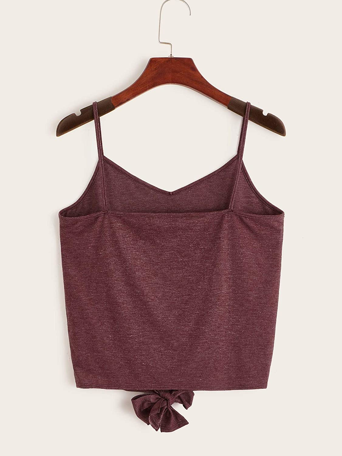 Floerns Women's Causal Spaghetti Strap Tie Knot Button Front Solid Cami Top
