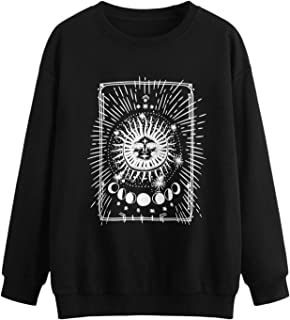 SweatyRocks Women's Long-Sleeve Crewneck Figure Graphic Print Sweatshirt Top