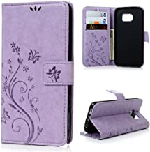 Galaxy S6 Plus Edge Wallet Case,LW-Shop for Samxung Galaxy S6 Plus Edge PU Leather Case [Built-in Credit Card Slots] Magnetic Design Flip Folio Cover with Flower Butterfly Pattern(Purple)