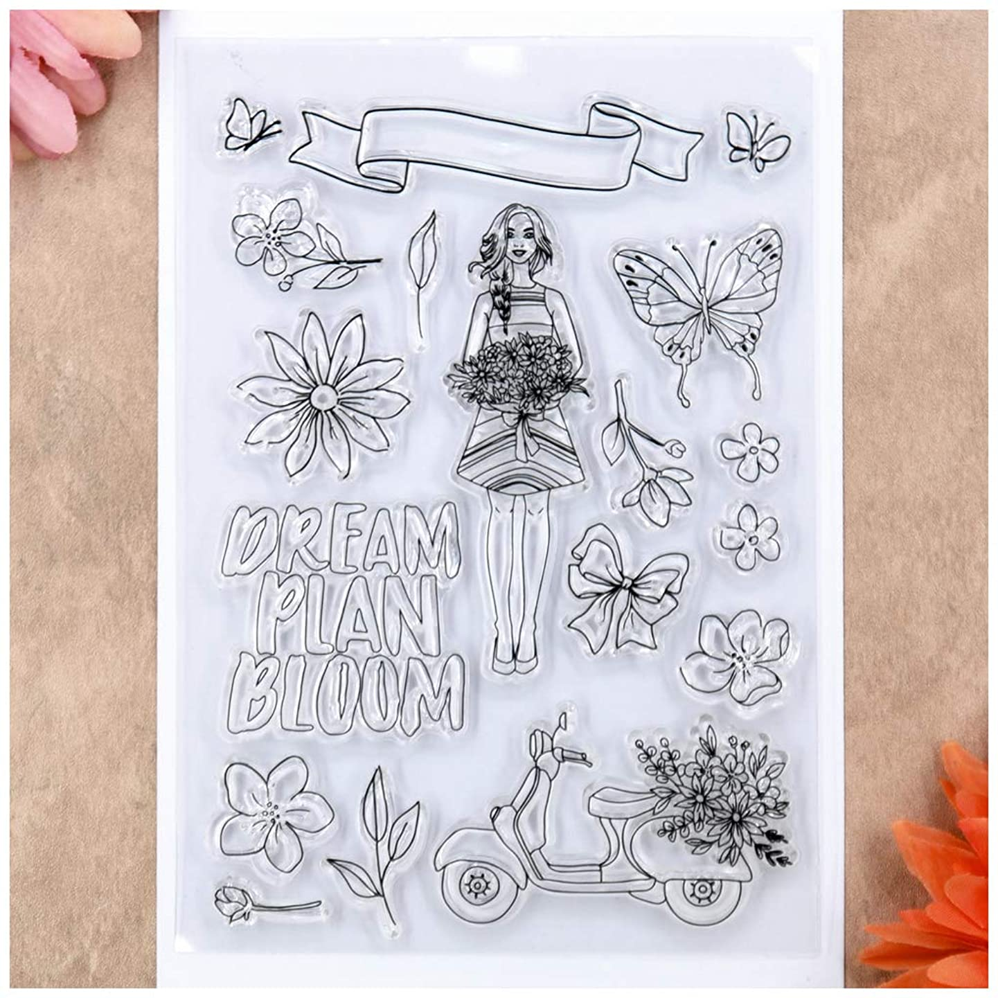 Kwan Crafts DREAM PLAN BLOOM Butterfly Flowers Girl Lady Clear Stamps for Card Making Decoration and DIY Scrapbooking