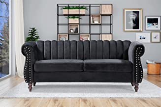 "Container Furniture Direct Quinones Modern Chesterfield Channel Tufted Sofa with Nailhead Accents, 76.4"", Black"