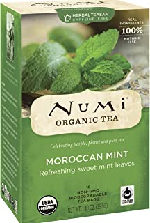 Numi Organic Tea Moroccan Mint - Full Leaf Herbal Teasan in Teabags, 18-Count Box (Pack of 6)