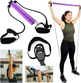 Pilates Bar Kit With Adjustable Resistance Bands Portable Home Gym Equipment x3 Full Body Workout Exercise Band For All Le...