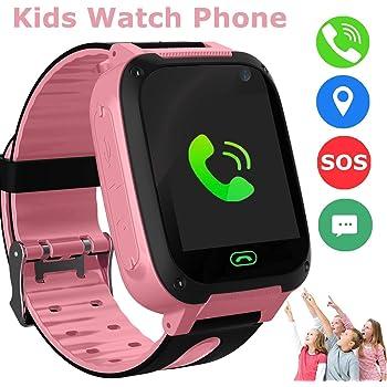 Enfants Smart Watch Téléphone, GPS Tracker Smart Wrist Watch pour 3-12 ans Garçons Filles avec SOS Caméra Carte Sim Slot Écran Tactile Jeu Smartwatch Jouets Enfants Cadeau (Rose)