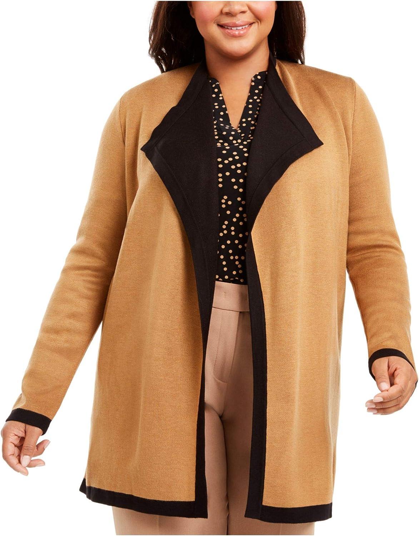 Anne Klein Womens Plus Drapey Open Front Cardigan Sweater