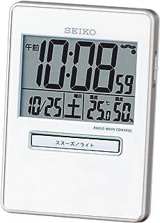 セイコー クロック 目覚まし時計 トラベラ 電波 デジタル カレンダー 温度 湿度 表示 白 パール SQ699W SEIKO
