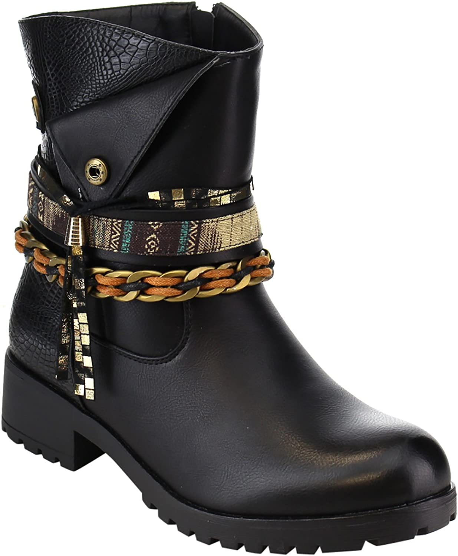 Brown Braided Anklet Tassel Western Vegan Leather Women's Boots