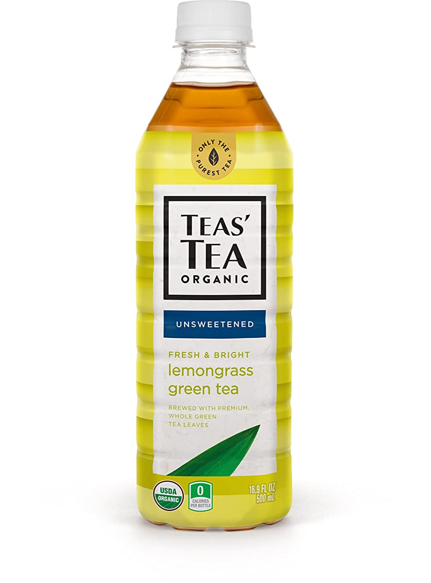 Teas' Tea Unsweetened Lemongrass Green Tea 16.9 Ounce (Pack of 12) Organic Zero Calories No Sugars No Artificial Sweeteners Antioxidant Rich High in Vitamin C