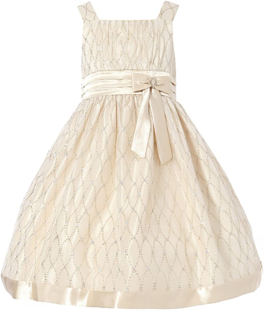 Richie House Little Girls' Dress with Bow Shiny Beads RH1021