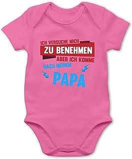 Shirtracer Sprüche Baby - Ich versuche Mich zu benehmen Aber ich komme nach Meinem Papa Blitze - Baby Body Kurzarm für Jungen und Mädchen