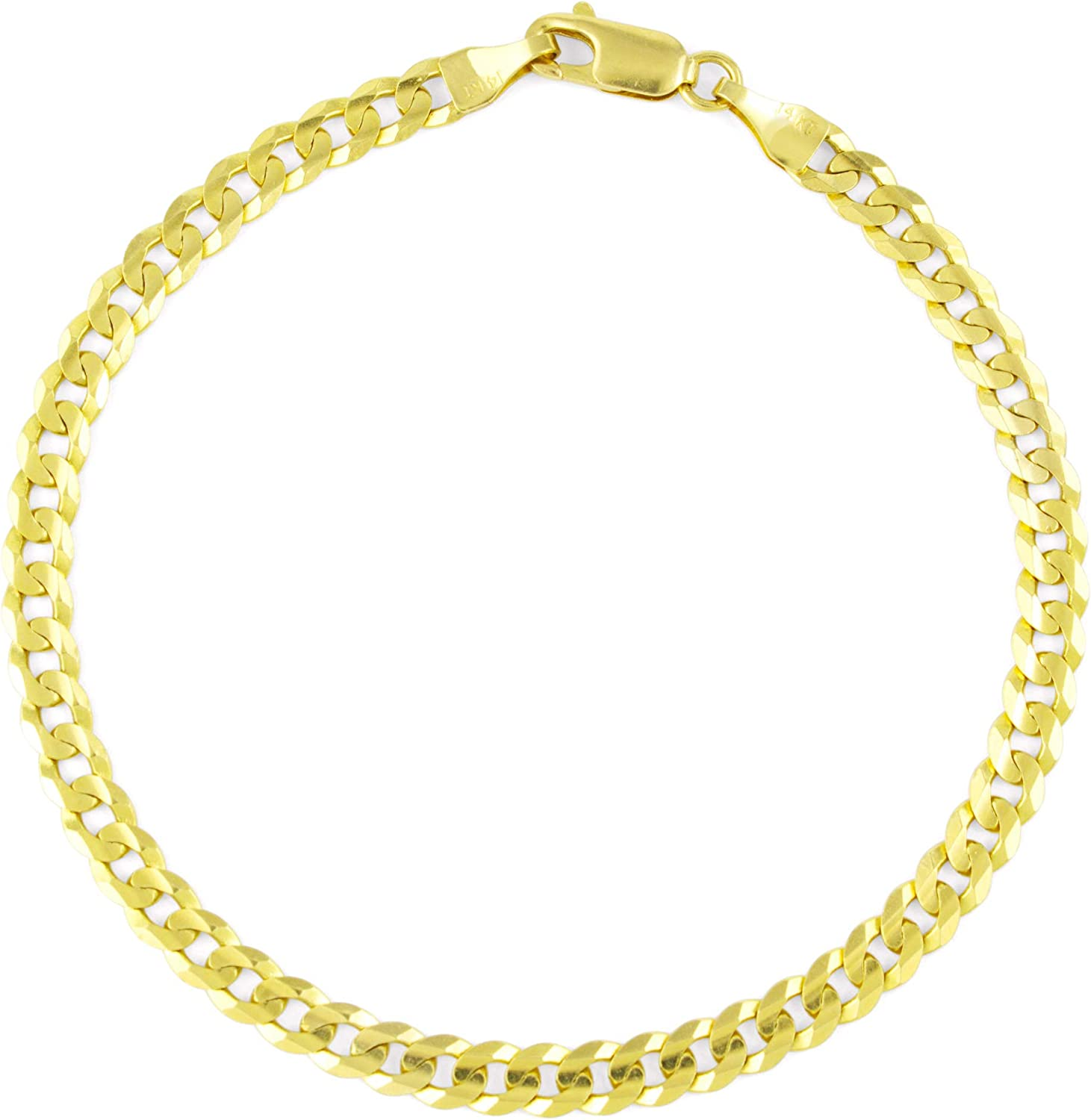 Free Shipping New Nuragold 14k Yellow Gold 5mm Solid Cuban Bracele Curb Link Chain We OFFer at cheap prices