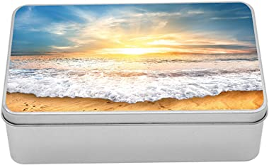 Lunarable Ocean Tin Box, Idylic Scene of a Sunset with Zippy Waves Moving on to Sand at a Beach, Portable Rectangle Metal Org