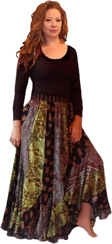 LOTUSTRADERS New York Mall Batik Print Bias Cut Gypsy Maxi Ruffle OFFer F780 Skirt