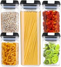 Airtight Food Storage Containers, 5 Piece Set Kitchen and Pantry Containers with Air Tight Lid, Clear Thick Plastic Canisters, BPA-Free, Keeps Food Fresh and Dry