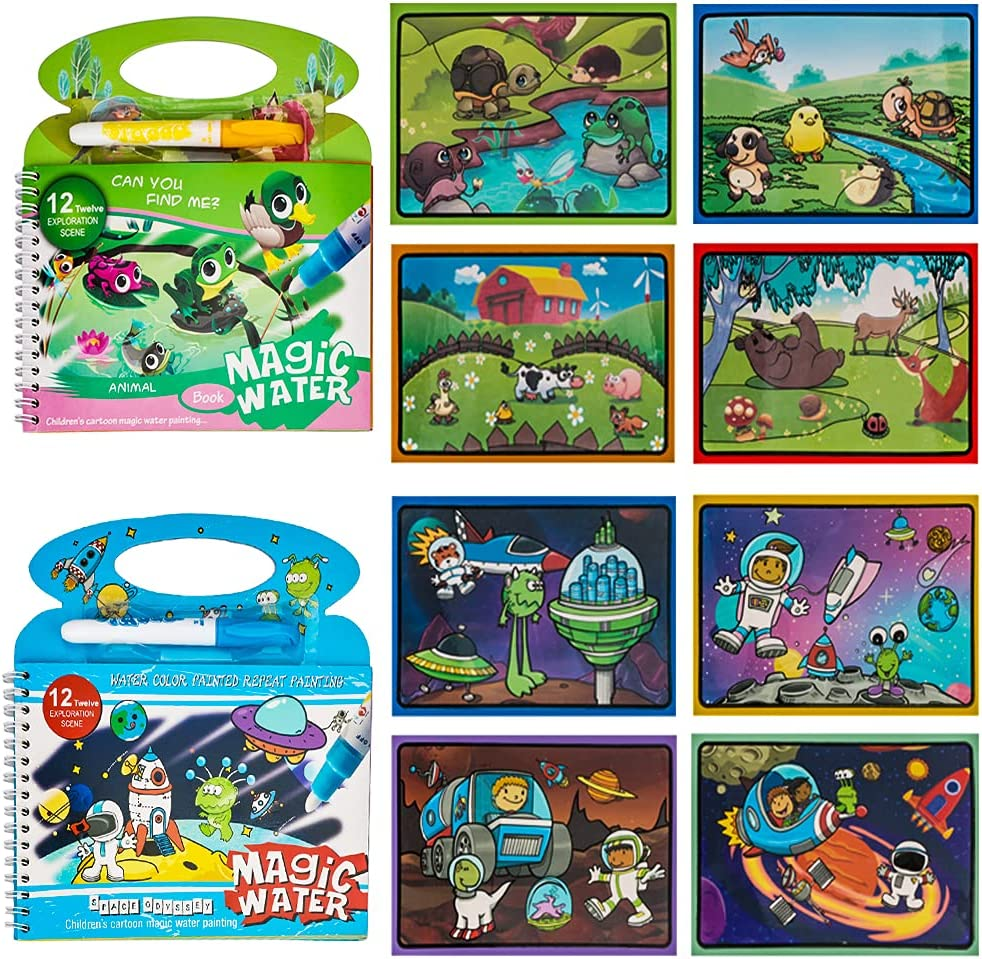 2PACKS Water Painting Colouring New popularity Books for famous Children Reveal