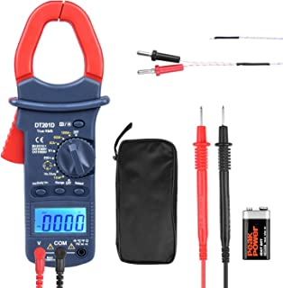 ETEPON Digital Clamp Meter True RMS 6000 Multimeter Auto and Manual Raging Measures Voltage, Current, Resistance, Continuity, Frequency, Capacitance, Temperature, Diodes, Transistors DT201D